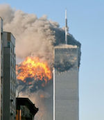 640px-North face south tower after plane strike 9-11