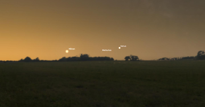 Chansen att få se Merkurius är som bäst strax efter kl. 7 på morgonen den 7 februari 2016. Spana åt sydöst, nära horisonten, mitt emellan månen och Venus.